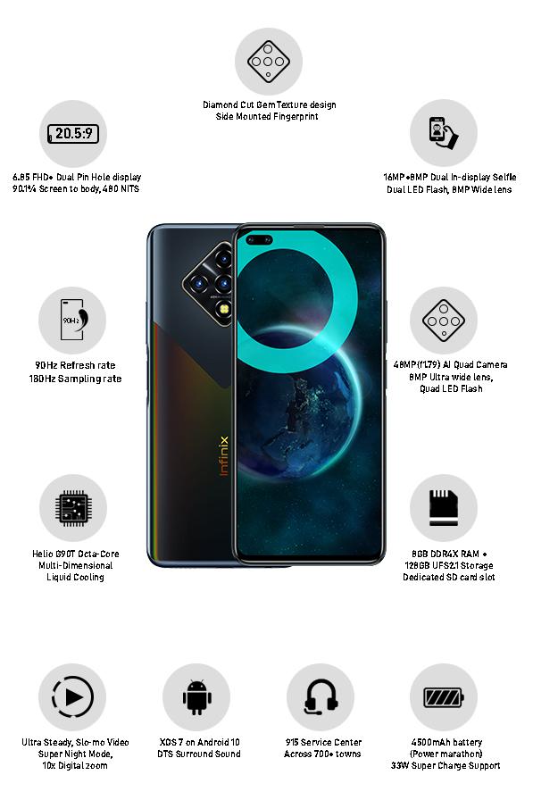 Infinix Zero 8i Black Diamond features